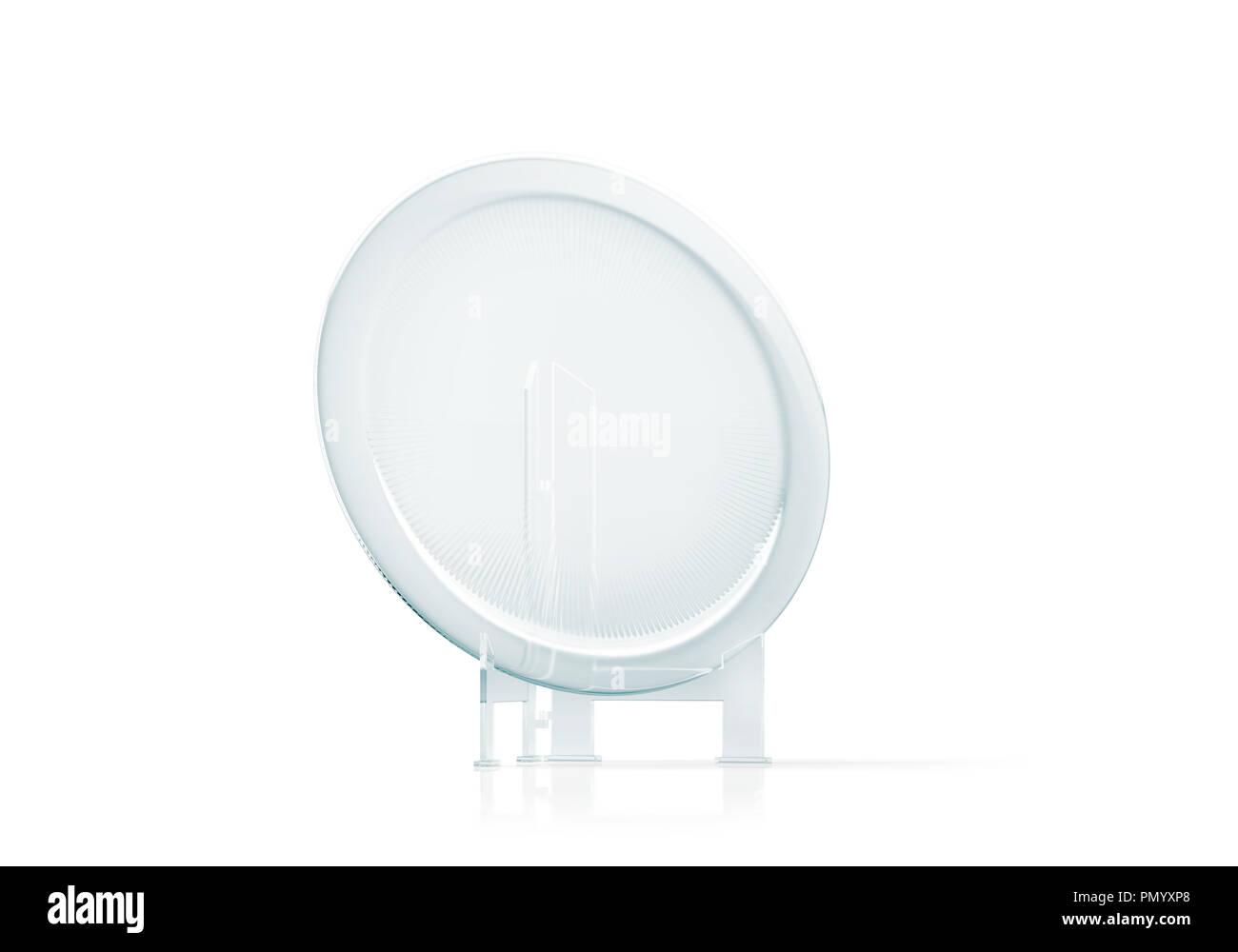 Blank round glass platter trophy mockup, 3d rendering  Empty acrylic