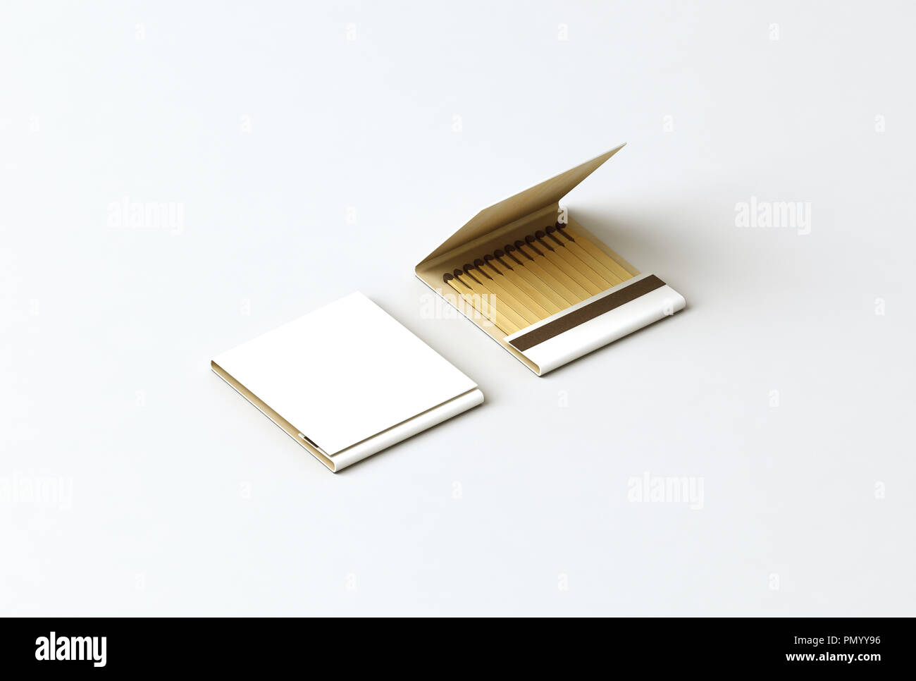 Blank promo matches book mock up, clipping path, 3d rendering. Empty paper match box packaging mockup. Matchbook case top side view ready for logo des - Stock Image