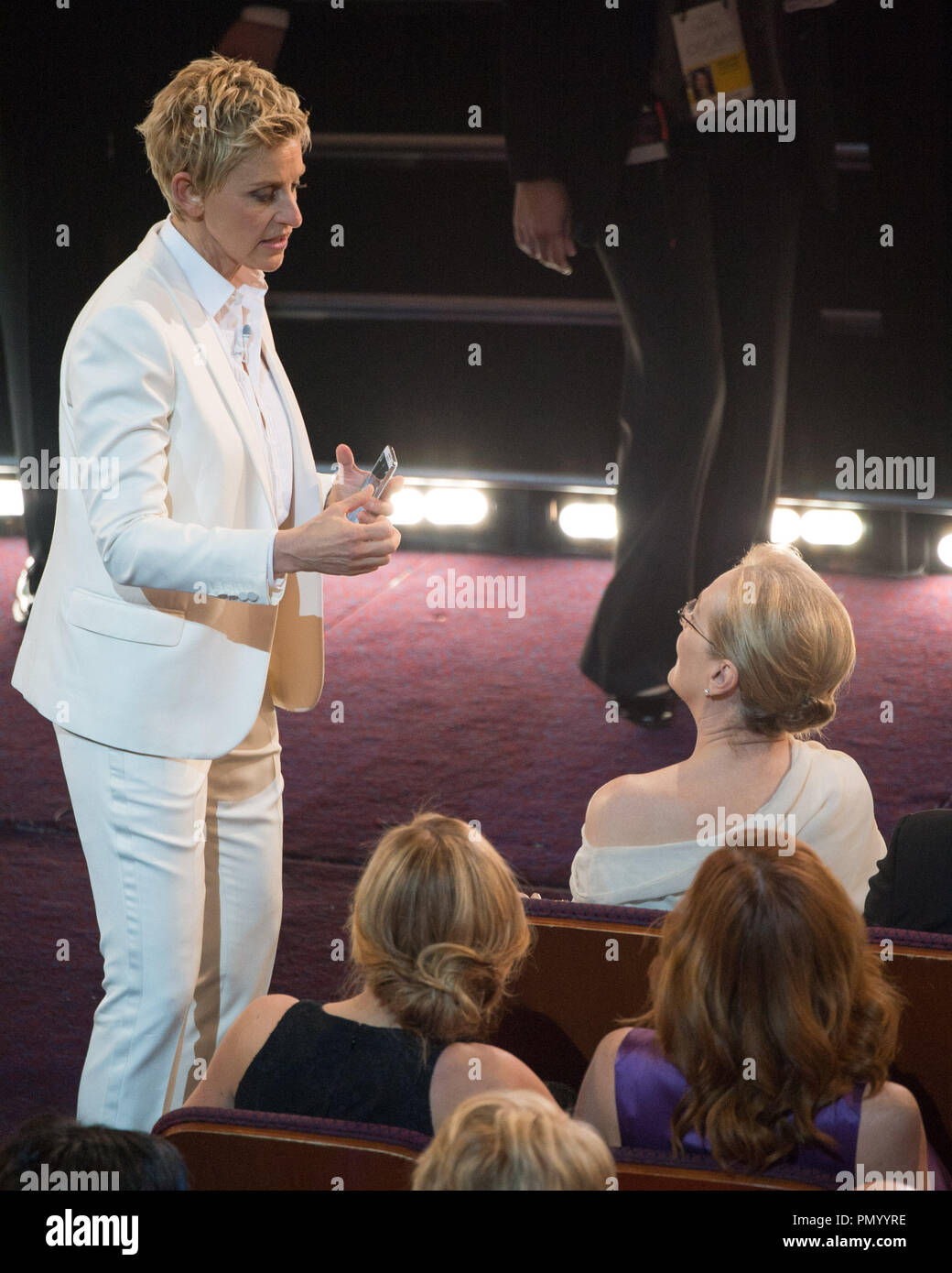 Ellen Degeneres talks with Oscar®-nominee Meryl Streep during the live ABC Telecast of The Oscars® from the Dolby® Theatre in Hollywood, CA Sunday, March 2, 2014.  File Reference # 32268_612  For Editorial Use Only -  All Rights Reserved - Stock Image