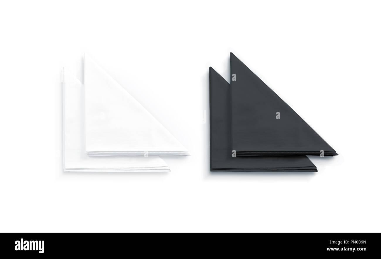 Blank black and white restaurant napkin mock up, isolated