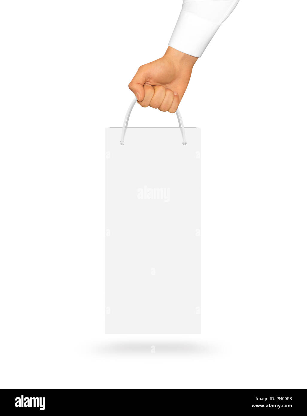 Blank White Wine Paper Bag Mock Up Holding In Hand Empty Plastic