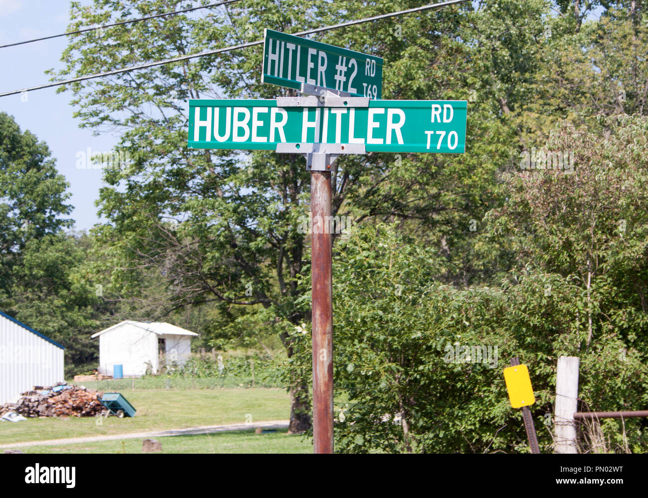 Hitler Road sign in Circleville Ohio - Stock Image
