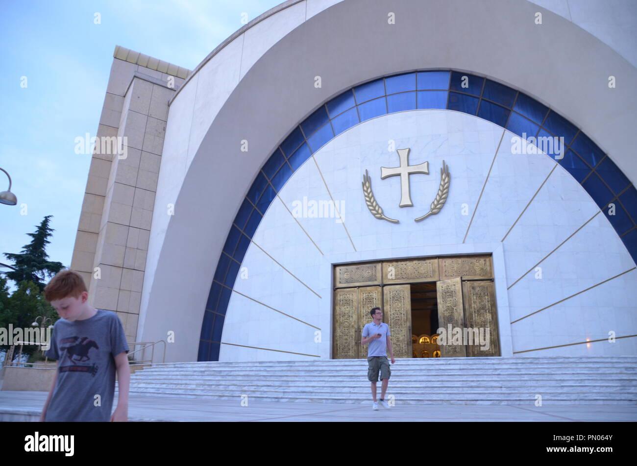 exterior of the resurrection cathedral central tirana albania - Stock Image