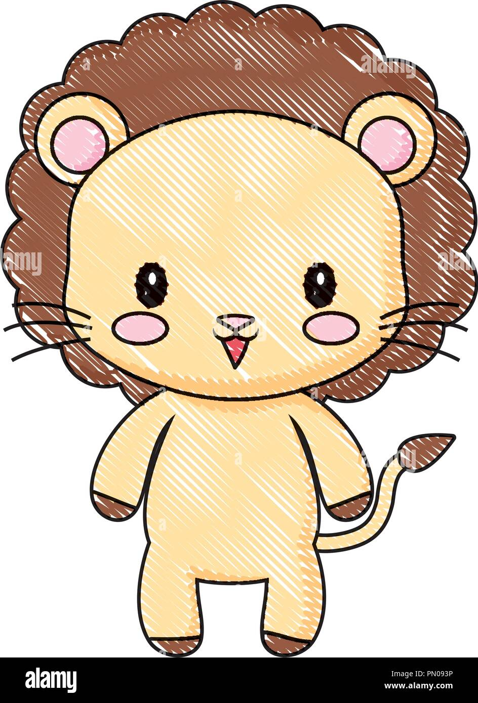 cute lion animal baby drawing cartoon vector illustration