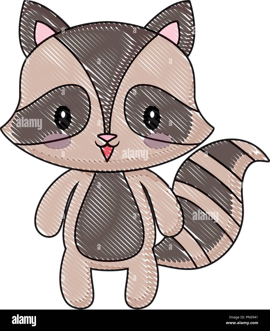 cute raccoon animal baby drawing cartoon vector illustration Stock Vector