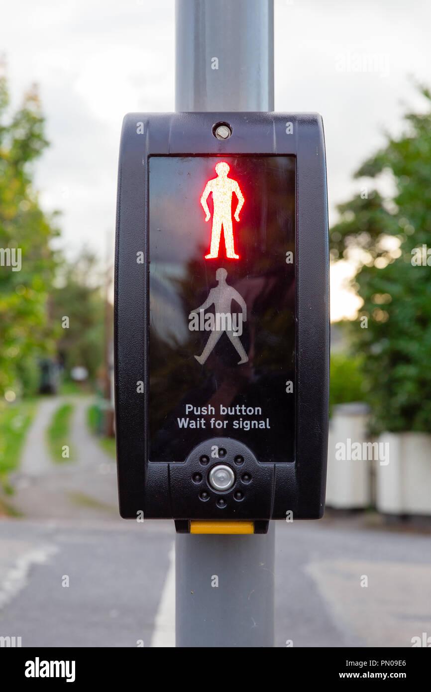 Pedestrian crossing traffic lights signalization Celbridge, Ireland - Stock Image