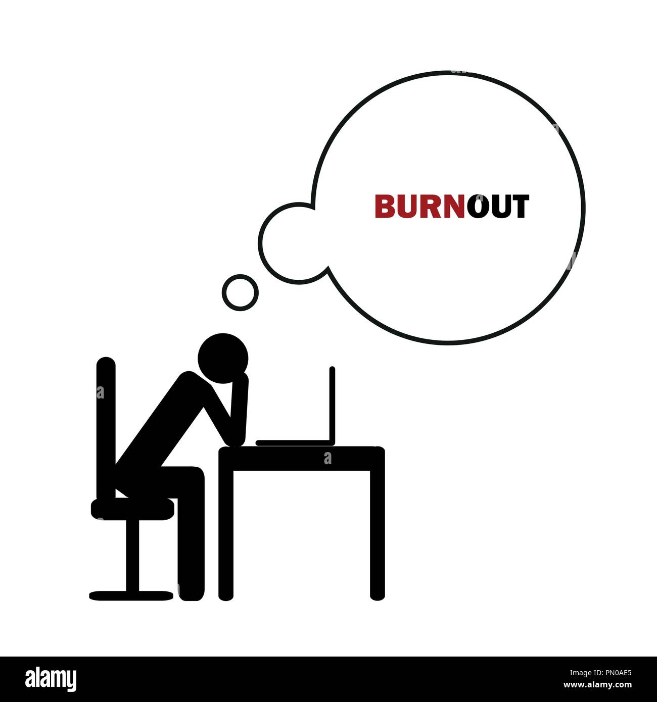 exhausted business man at his desk pictogram concept of stress, burnout, headache, depression vector illustration - Stock Vector
