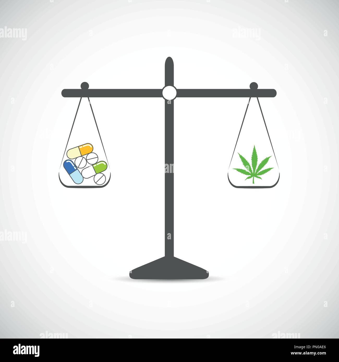 libra cannabis or chemical tablets medicine decision vector illustration - Stock Image