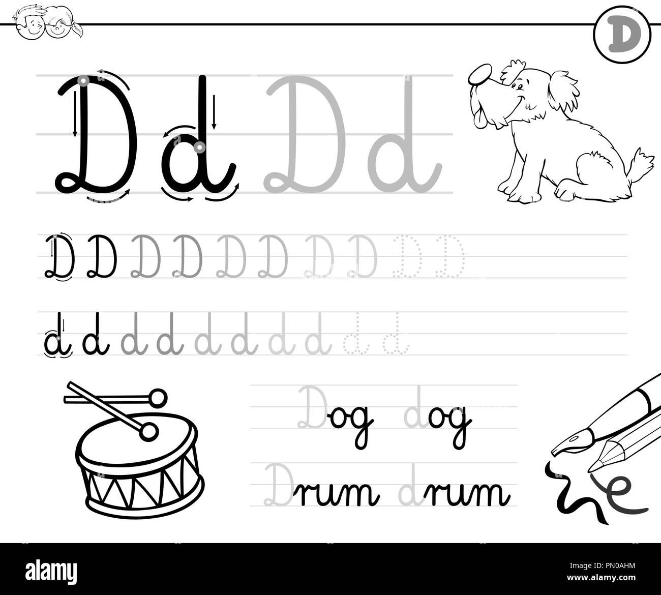 Cartoon Illustration Writing Skills Practice Stock Photos & Cartoon ...