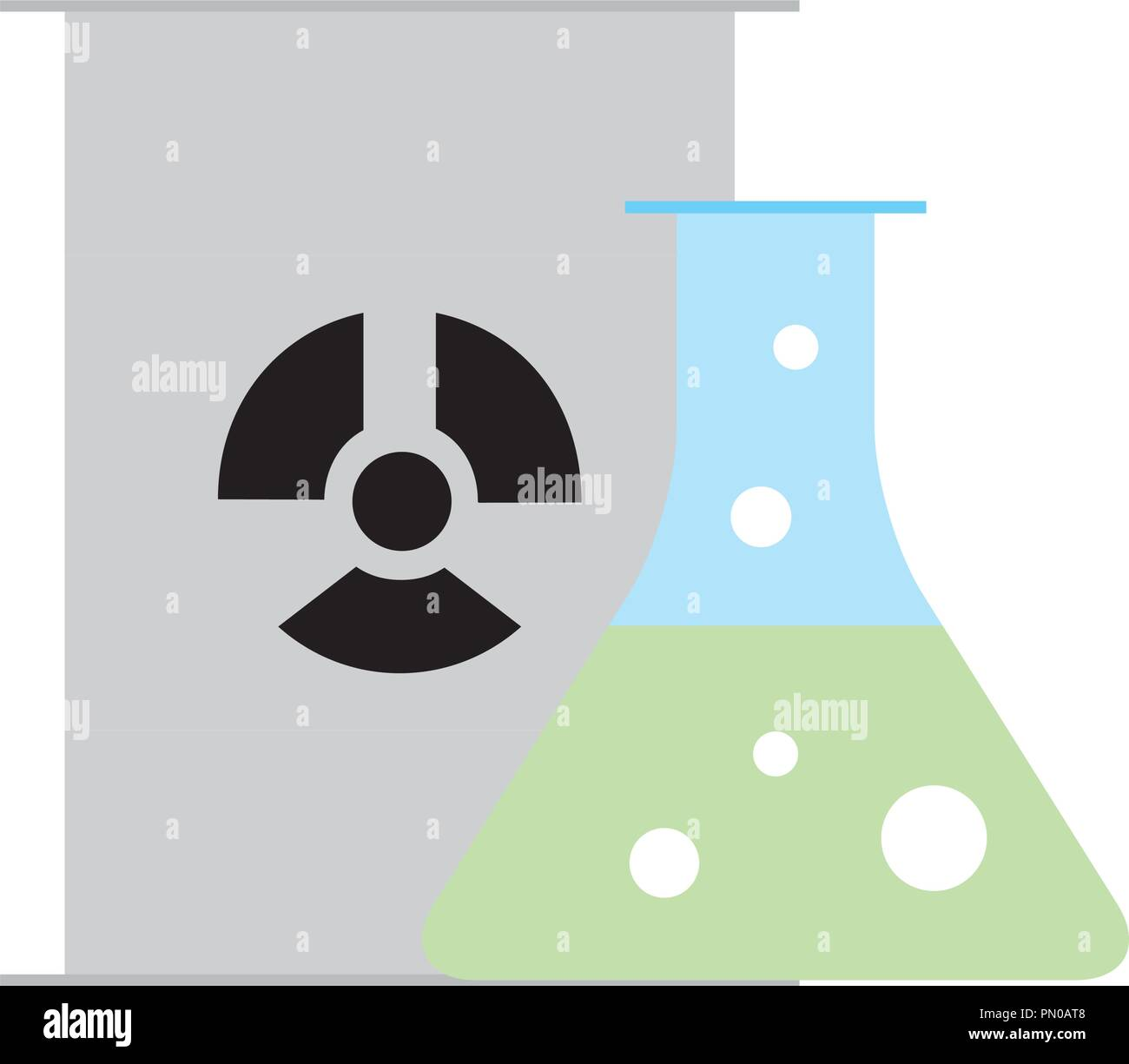 chemistry hazard test tube barrel radiation - Stock Image
