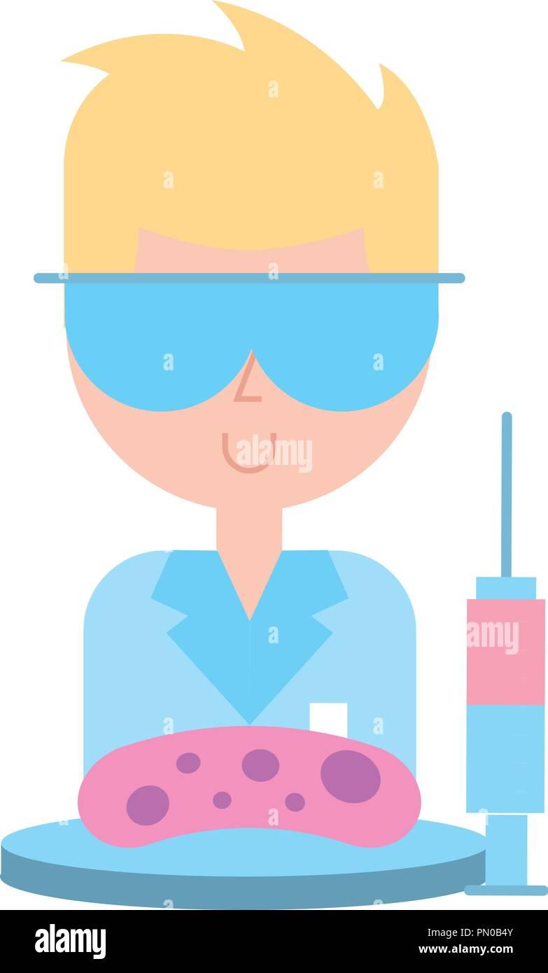 scientific man professor syringe and bacteria germ - Stock Image