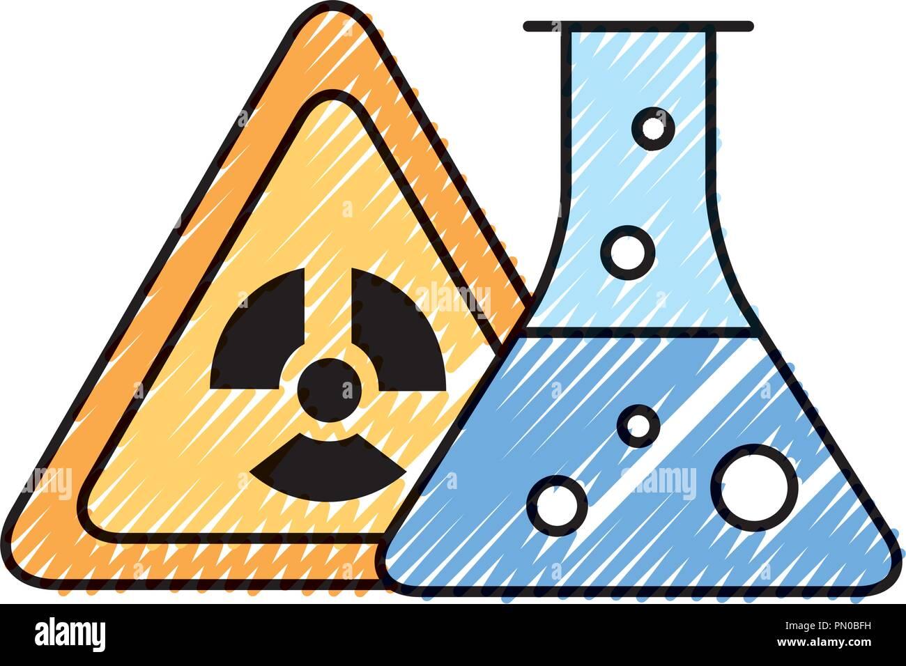 radiation hazard test tube chemistry - Stock Image