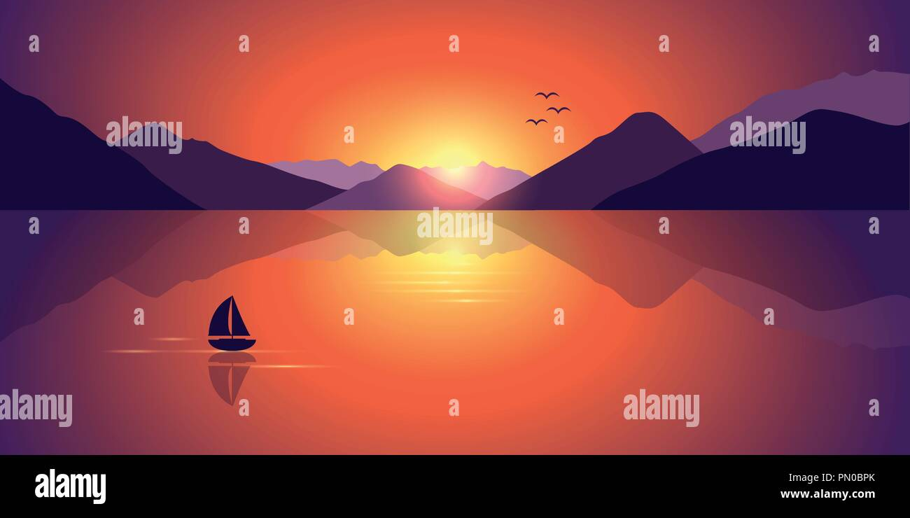lonely sailboat on a calm sea with a beautiful mountain view at colorful sunset vector illustration EPS10 - Stock Vector