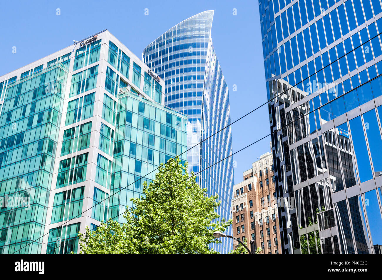 High rise modern architecture in Burrard Street in downtown Vancouver, British Columbia, Canada - Stock Image