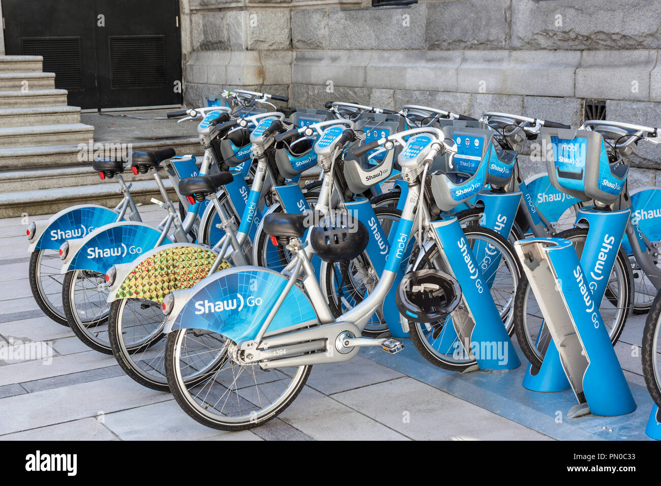 Mobi Shaw Go Bike share scheme in downtown Vancouver, British Columbia, Canada - Stock Image