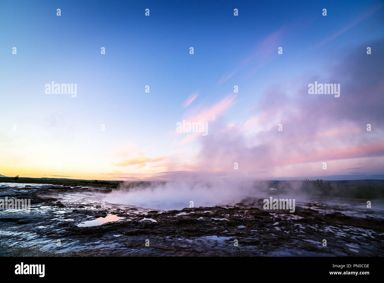Strokkur geyser. Golden circle Iceland. Geothermal area in valley Haukadalur Stock Photo