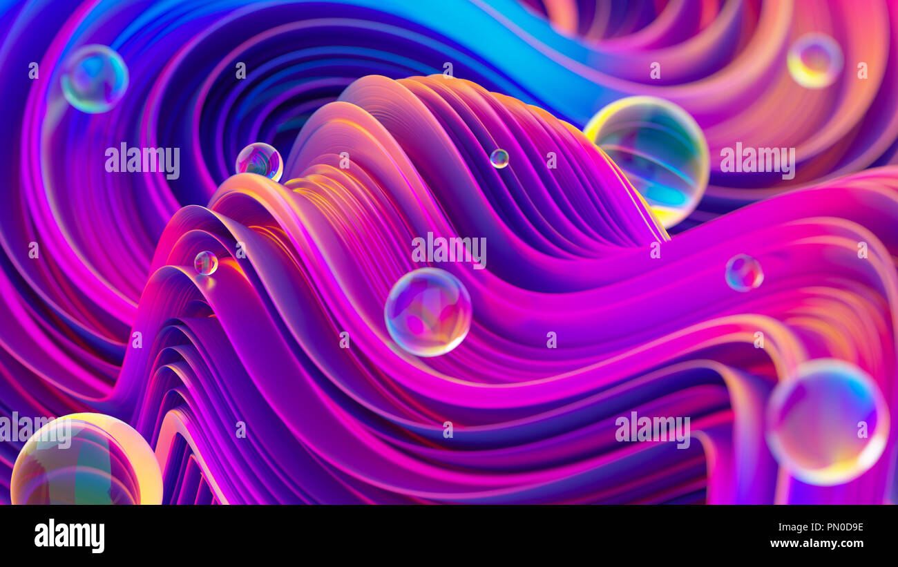 Fluid iridescent holographic background with shiny spheres. - Stock Image