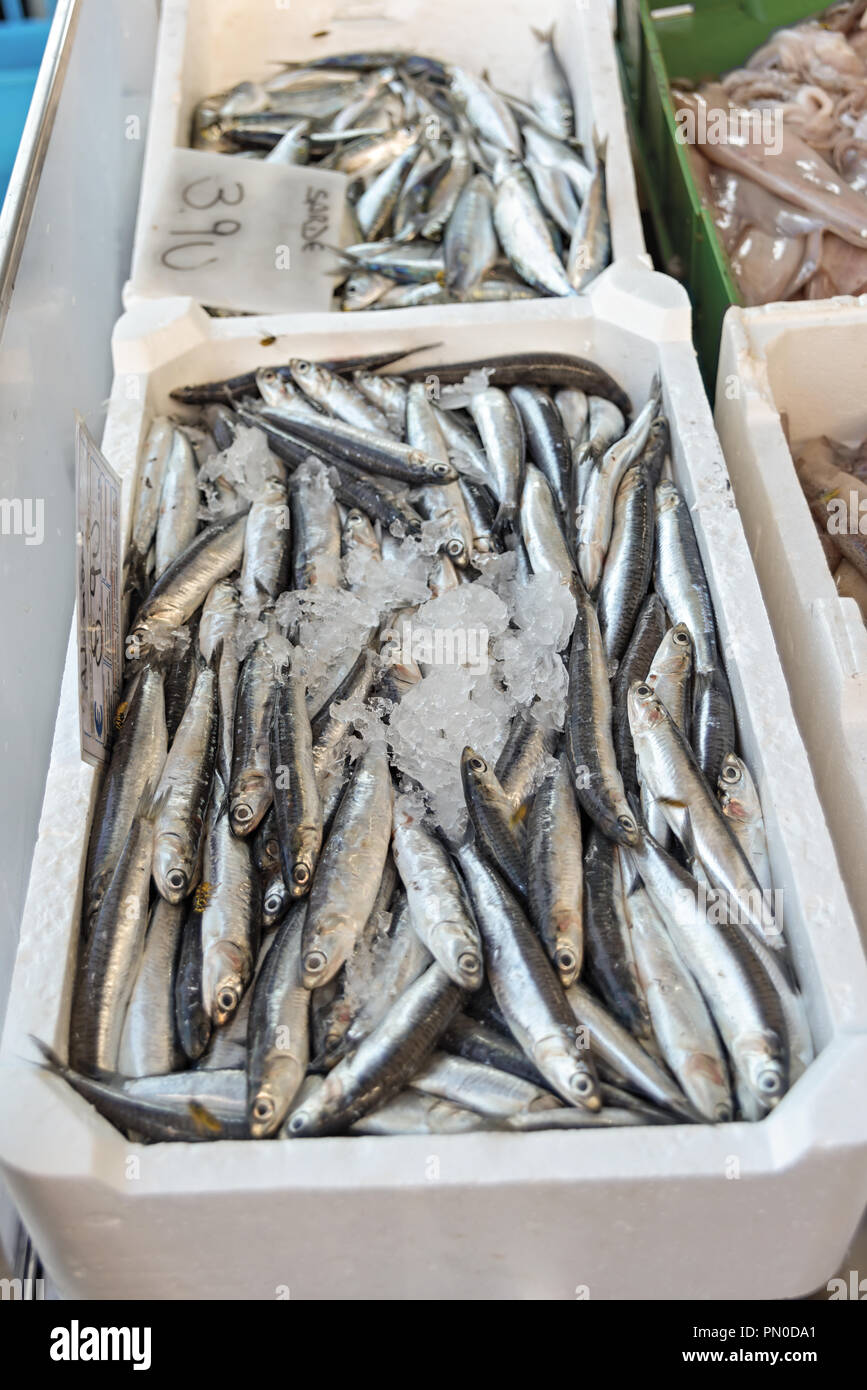 fish cassettes at the market 2 - Stock Image