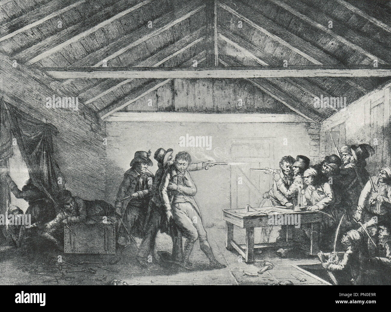 The arrest of The Cato Street Conspirators. The Cato Street Conspiracy was an attempt to murder Prime Minister Lord Liverpool, and all the British cabinet in 1820 - Stock Image