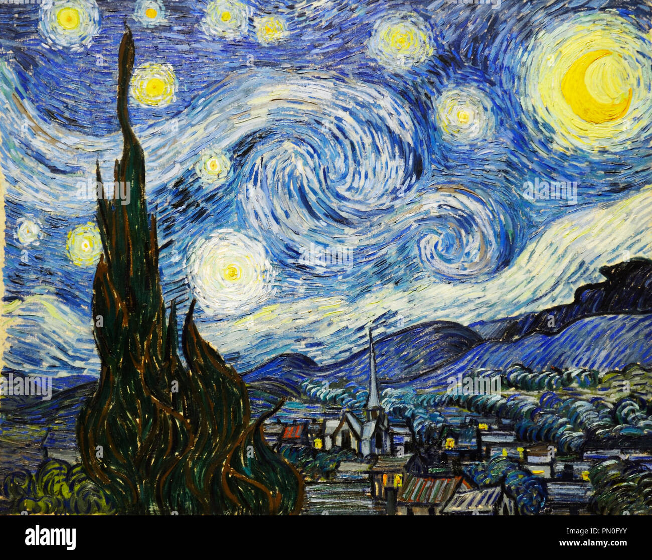 The Starry Night, Van Gogh, 1889 - Stock Image