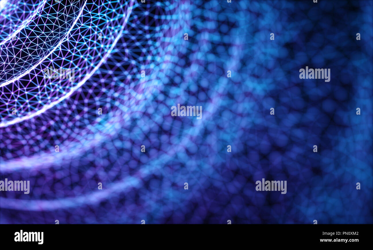 3D illustration of connections and dots representing the concept of cloud computing. - Stock Image