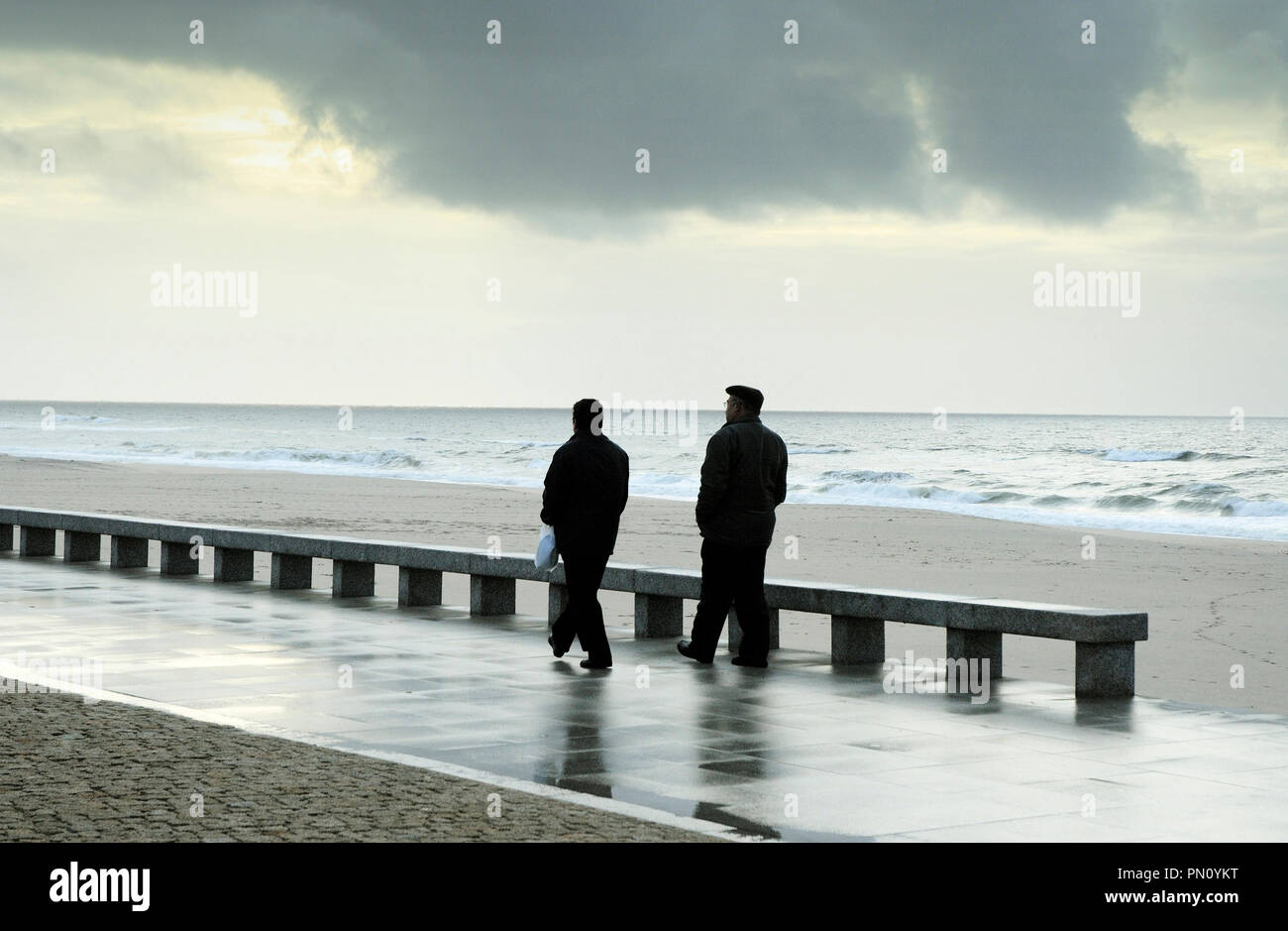 Torreira in a winter stormy day. Portugal - Stock Image