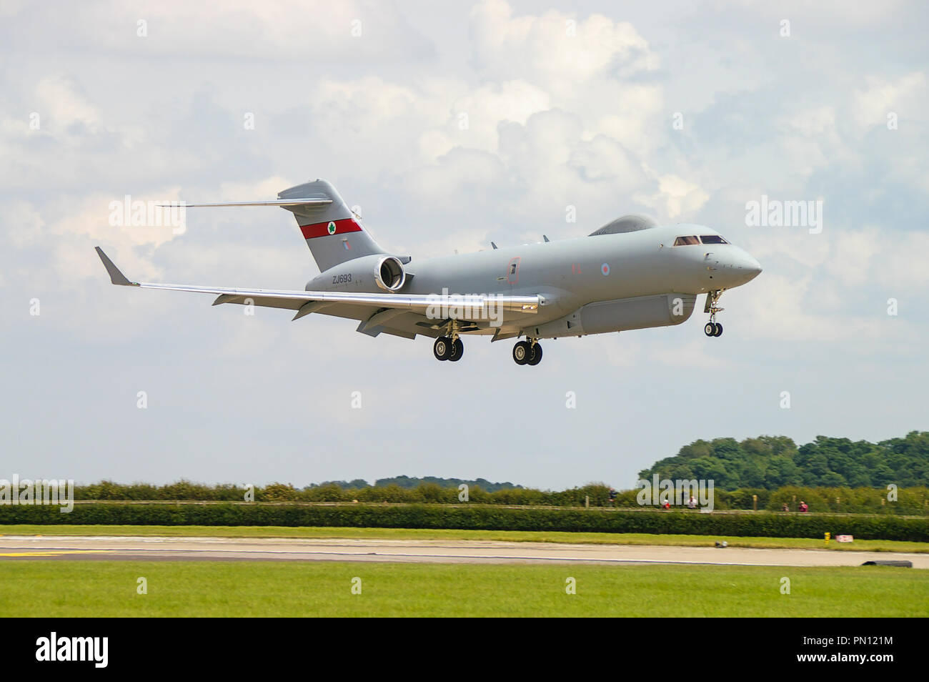 Royal Air Force RAF Raytheon Sentinel R1 airborne battlefield and ground surveillance aircraft. Based on the Bombardier Global Express. 5 Squadron - Stock Image