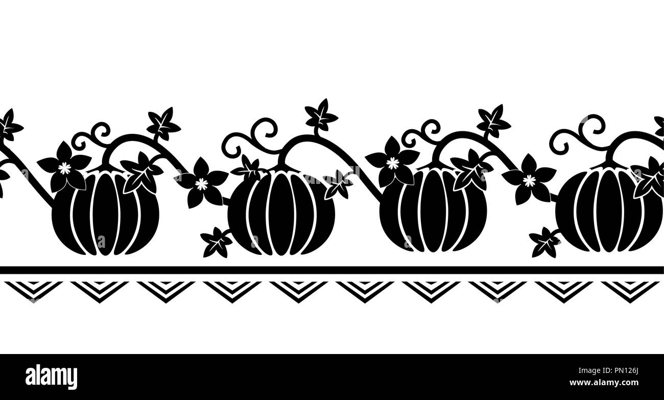Seamless border pattern with pumpkin ornament. Black and white ...