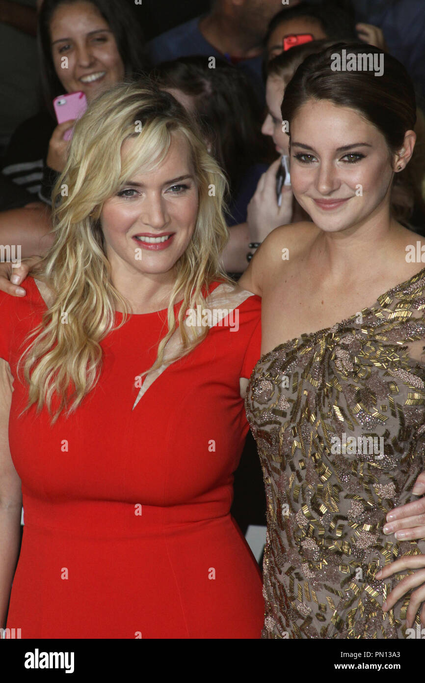 Kate Winslet and Shailene Woodley at the world premiere of Summit Entertainment's 'Divergent'. Arrivals held at the Regency Bruin Theatre in Westwood, CA, March 18, 2014. Photo by: Richard Chavez / PictureLux - Stock Image