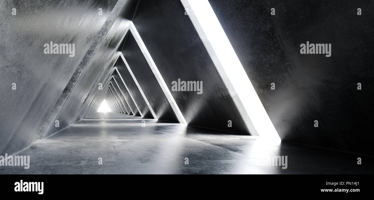 Empty Long Light Polished Concrete Modern Sci-Fi Futuristic Triangle Shaped Construction Tunnel Corridor 3D Rendering Illustration - Stock Image