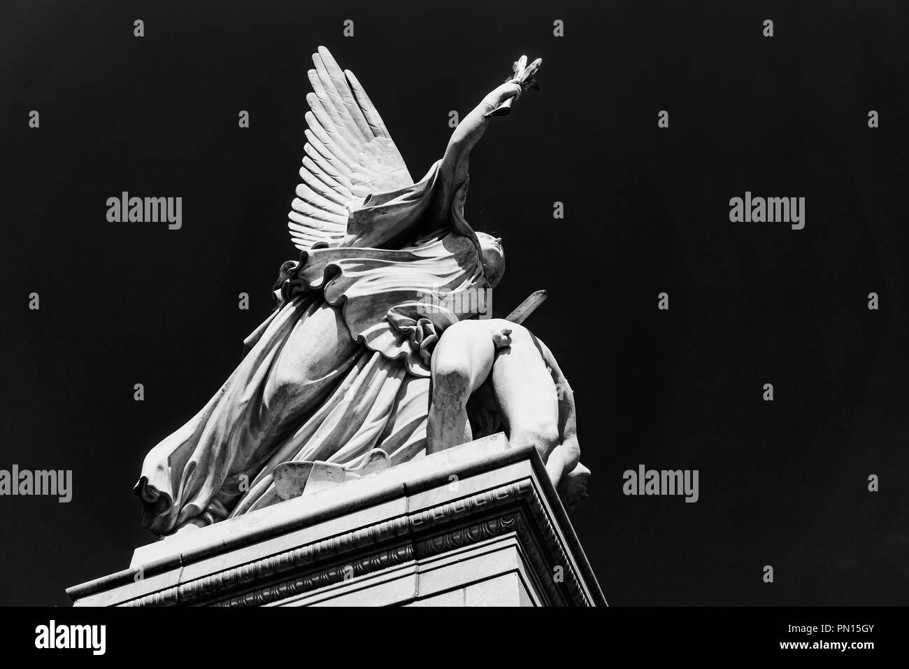 Berlin, Germany, July 28, 2018: Dramatic Angle of Sculpture of Nike - Greek Goddess of Victory - Takes the Fallen Hero to Olympus on Schloss Bridge by - Stock Image