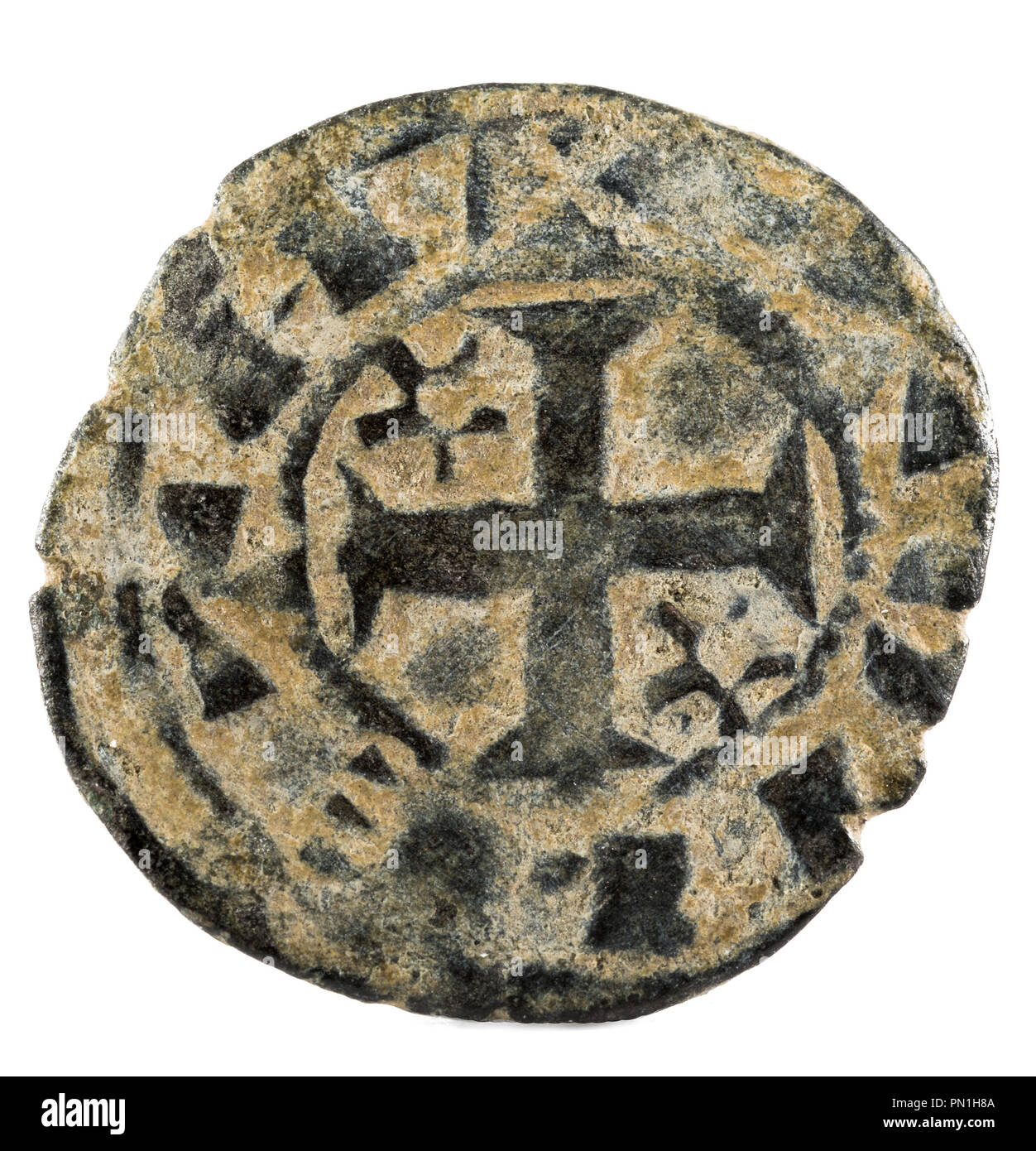 Ancient medieval fleece coin of the King Alfonso VIII. Dinero. Coined in Toledo. Spain. Reverse. - Stock Image