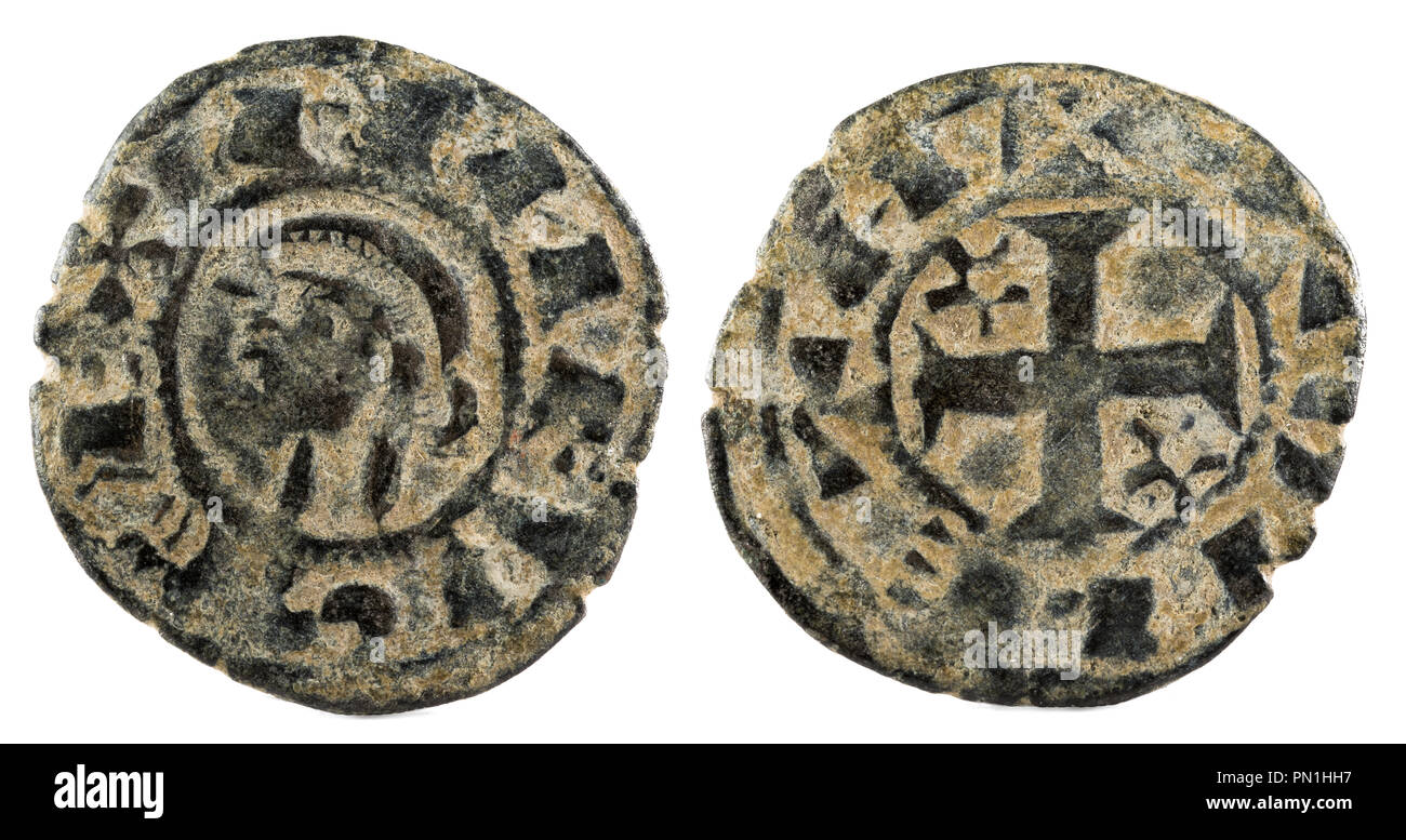Ancient medieval fleece coin of the King Alfonso VIII. Dinero. Coined in Toledo. Spain. - Stock Image