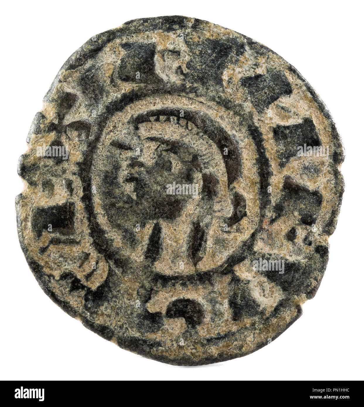 Ancient medieval fleece coin of the King Alfonso VIII. Dinero. Coined in Toledo. Spain. Obverse. - Stock Image