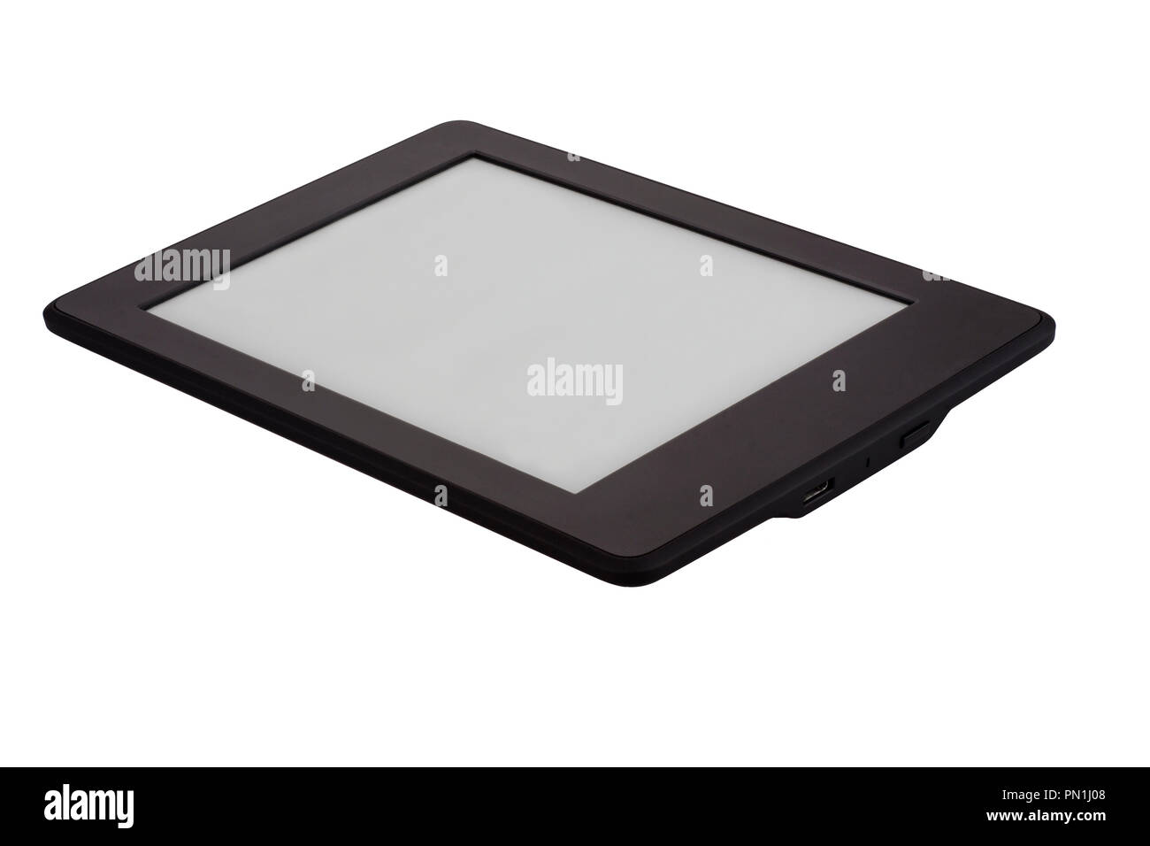 E-book device isolated on white background - Stock Image