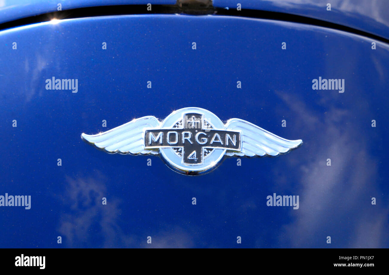Morgan 4, Sports Car, British, manufacture, badge, logo, motor car - Stock Image