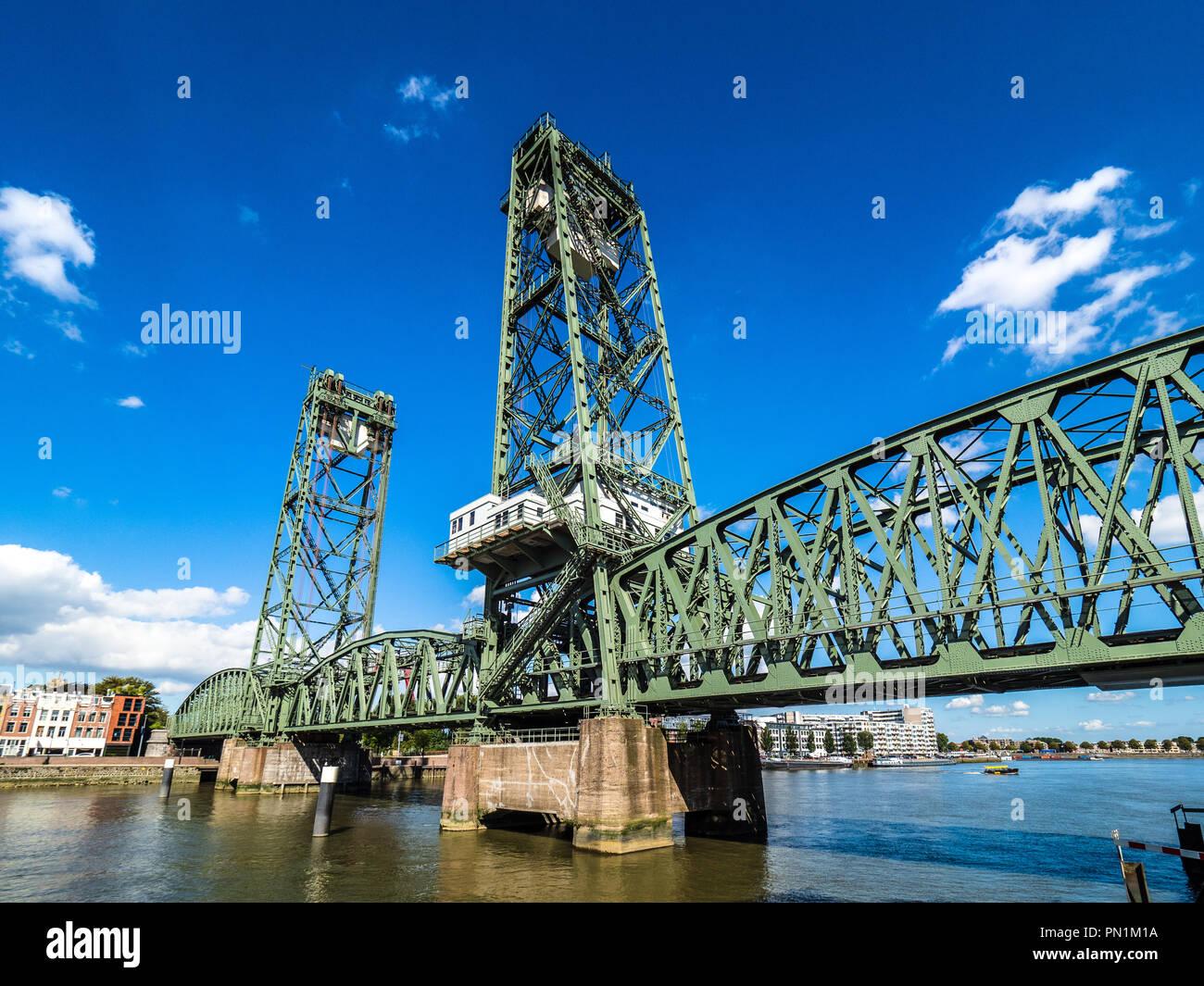 De Hef bridge or the Koningshaven Bridge is a disused railway lift bridge over the Koningshaven in Rotterdam - Stock Image
