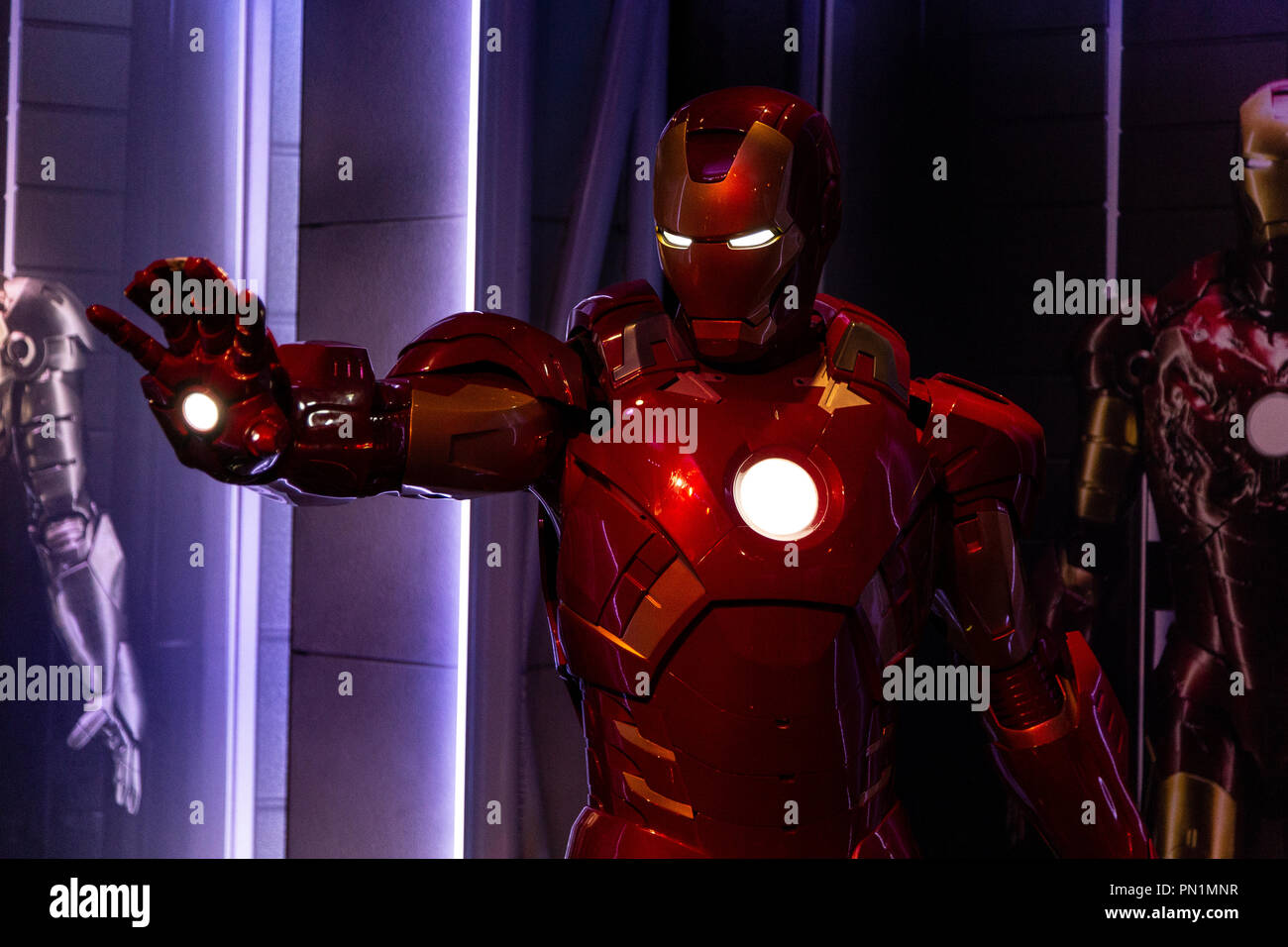Wax figure of Tony Stark the Iron Man from Marvel comics in Madame Tussauds Wax museum in Amsterdam, Netherlands - Stock Image