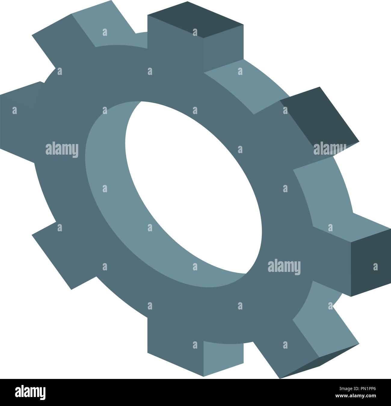 Gears isometric symbol - Stock Image