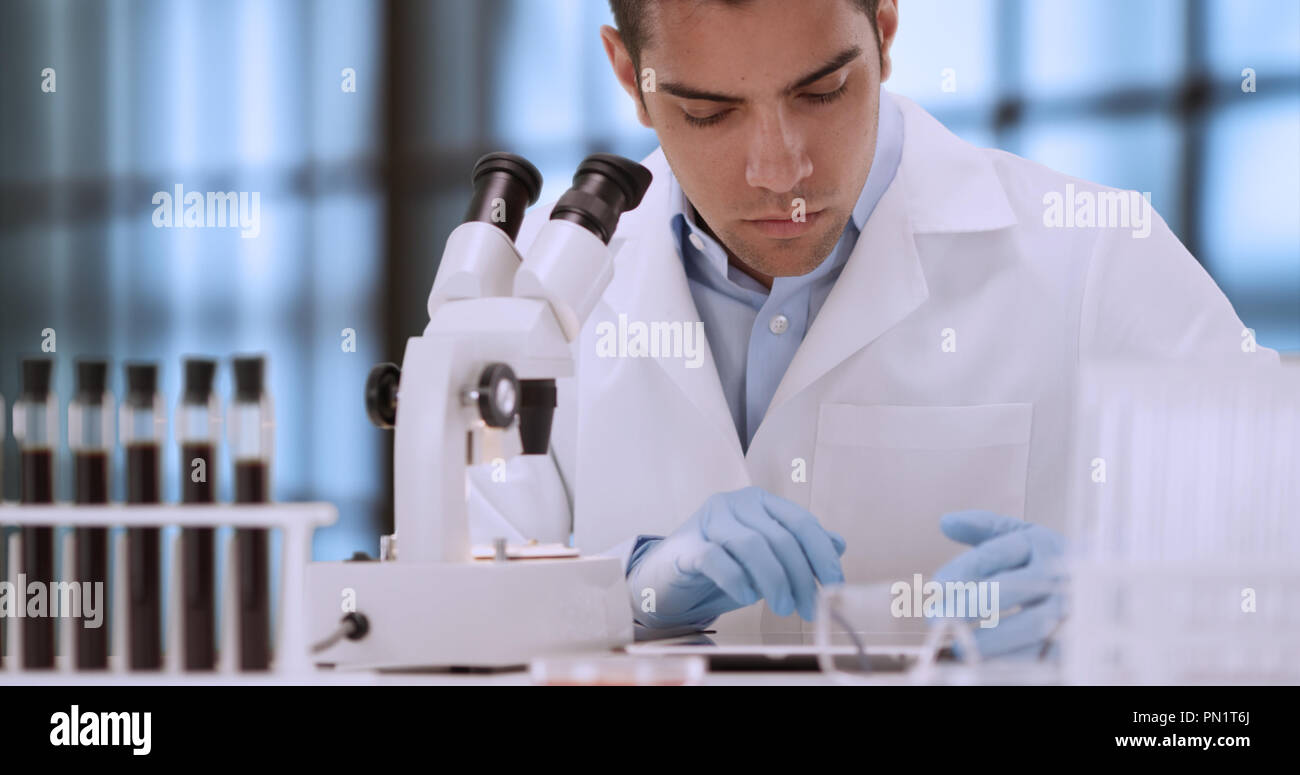 Young Hispanic forensic scientist looking at blood sample through microscope - Stock Image