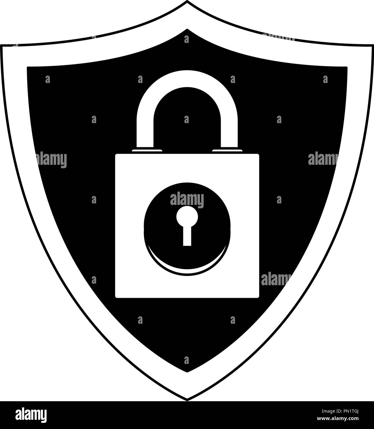 Padlock on shield emblem in black and white - Stock Image
