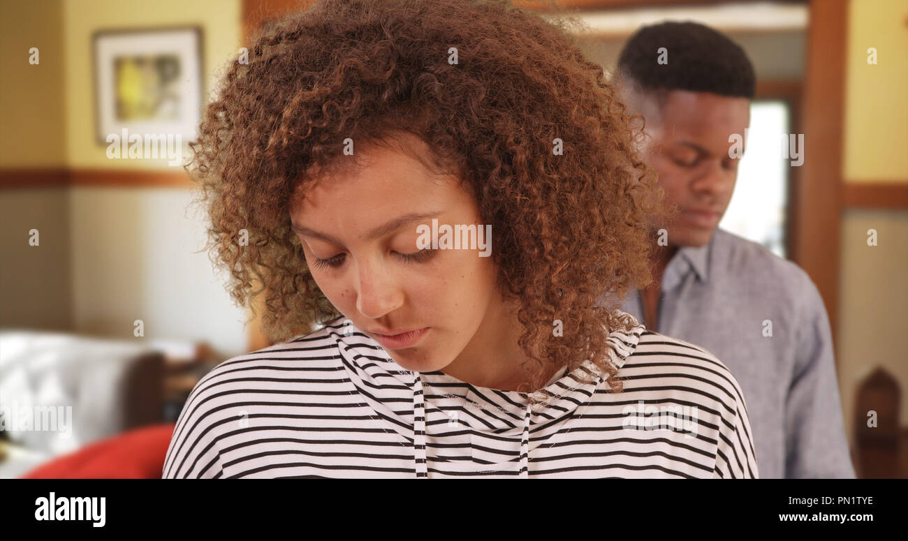 Young black couple having relationship problems - Stock Image