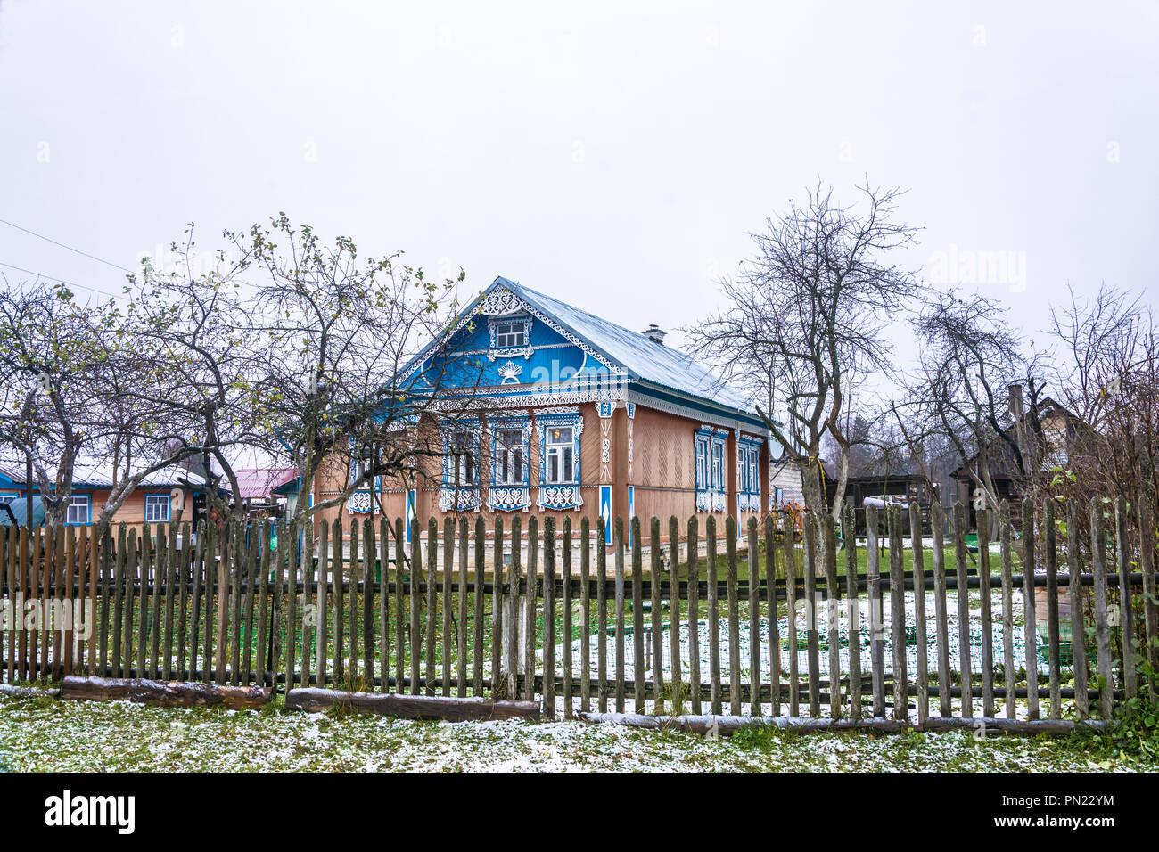 Ivanovo oblast, Russia – November 11, 2017: the Beautiful rustic house, decorated with wooden carvings, 11 Nov 2017, Ivanovo oblast, Russia. - Stock Image