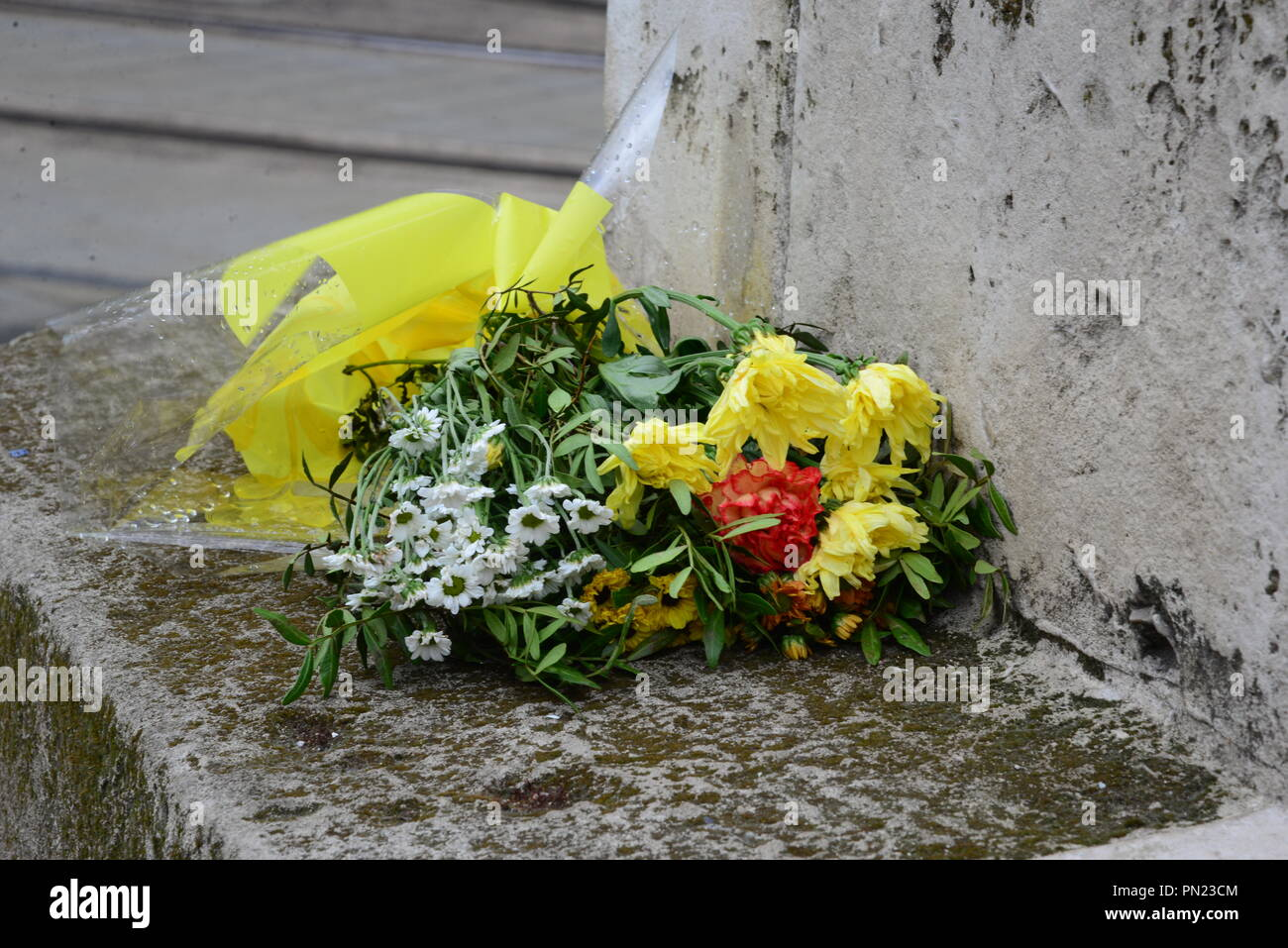 Peterloo memorial flowers Stock Photo