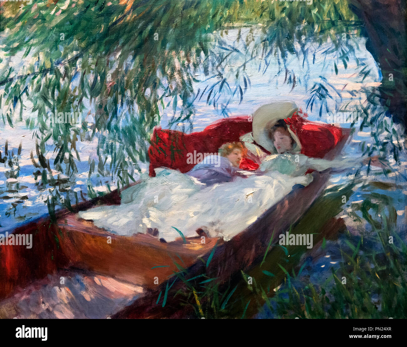"""Painting by John Singer Sargent (1856-1925) entitled """"Lady and Child Asleep in a Punt under the Willows"""", oil on canvas, 1887 Stock Photo"""