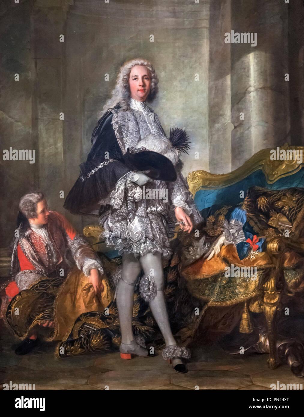 Portrait of Marshal of France (Marechal) Louis François Armand de Vignerot du Plessis, 3rd Duke of Richelieu (1696-1788) by Jean-Marc Nattier, oil on canvas, c.1732 - Stock Image