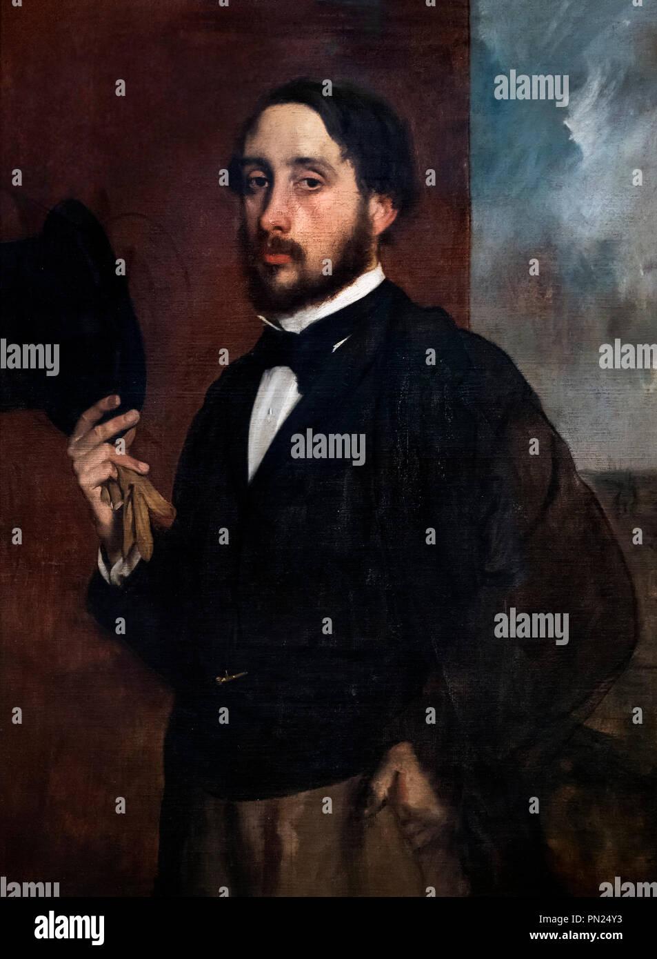 Self-portrait or 'Degas Saluant' by Edgar Degas (1834-1917), oil on canvas, 1863 - Stock Image