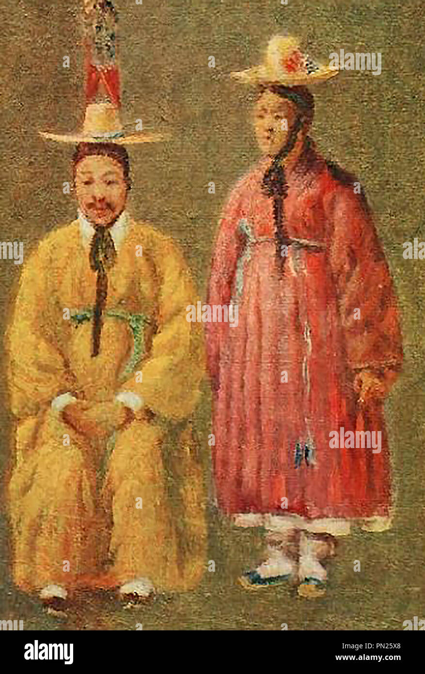 KOREA - A 1910 colour portraits of two of the Emeror's servants in national dress Stock Photo