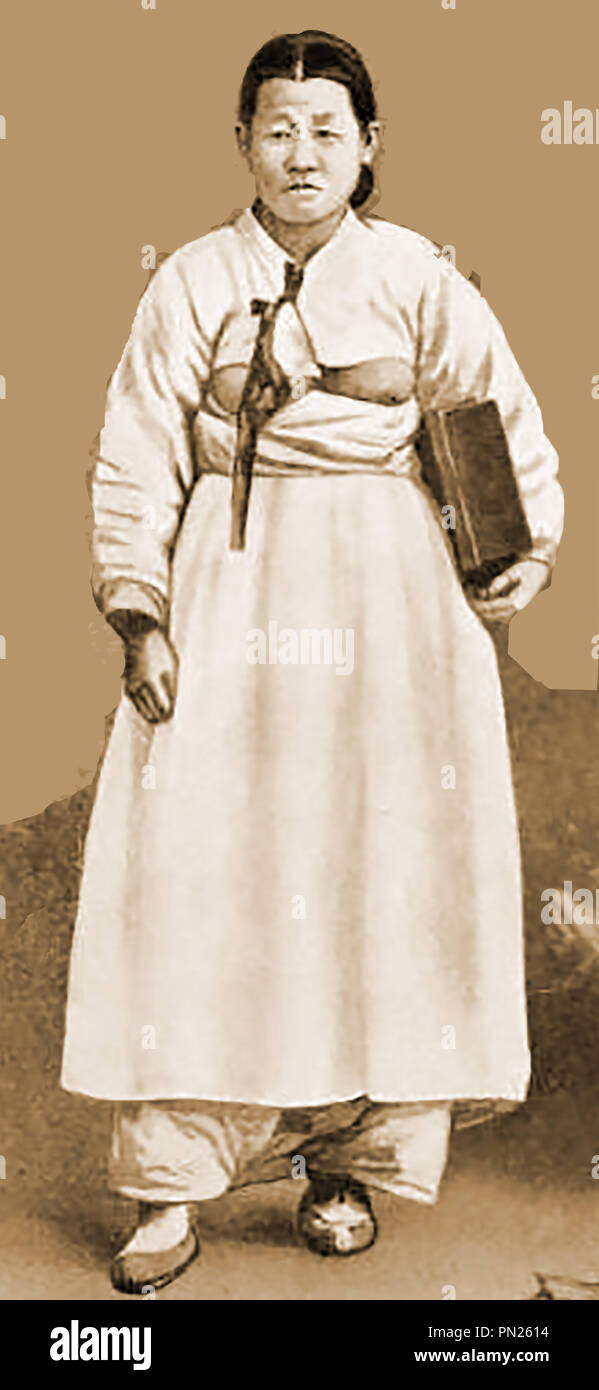 f603e8c5aa9 KOREA - A Korean woman in everyday wear - national dress 1904 Stock ...
