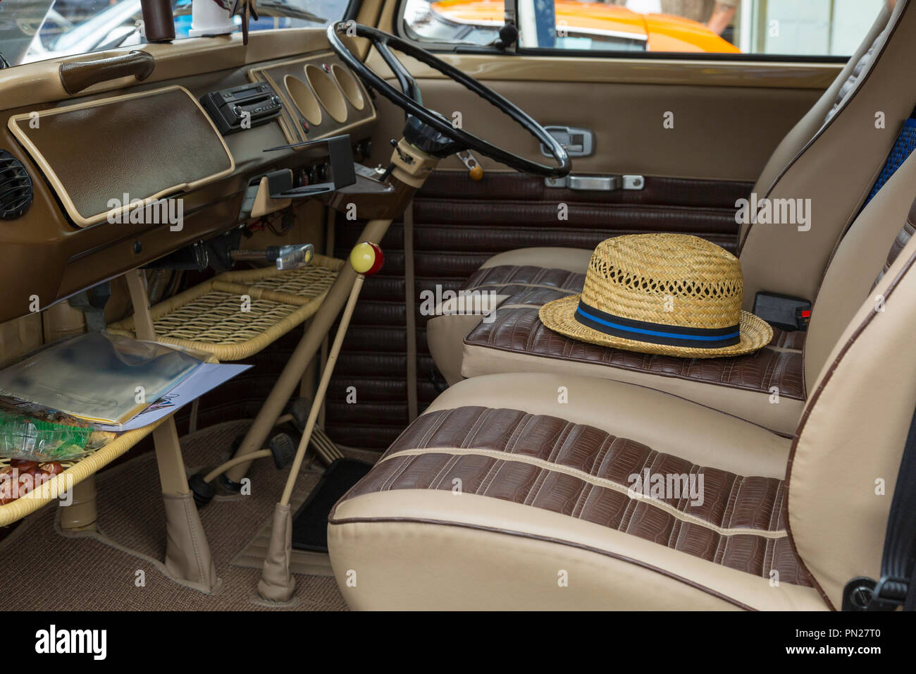 Interior of an early VW Camper. - Stock Image